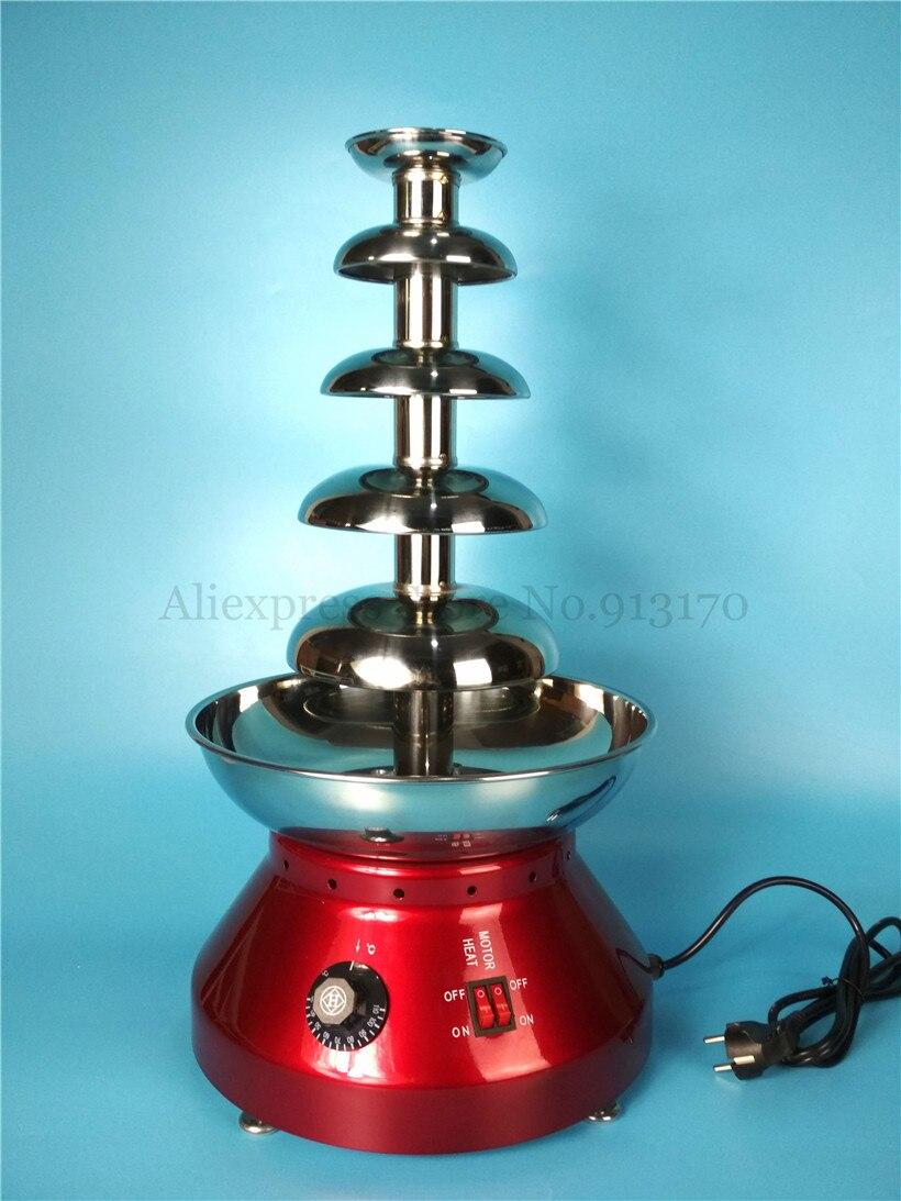 Коммерческий Электрический 5-уровня вечерние шоколадное фондю фонтан яркий цвет красного вина Цвет Для ужин, кафе, Чай магазины