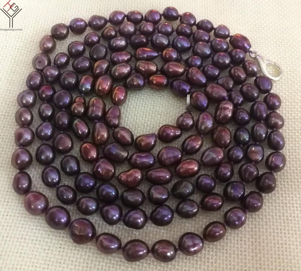 100 ''255 cm femmes bijoux de mode 8x9mm couleurs violettes naturel perle sautoir baroque perles de culture d'eau douce perle