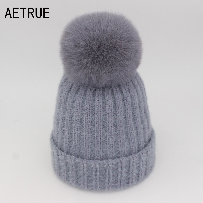 AETRUE Women Knitted Hat Skullies Beanies Winter Hats For Women Ladies Girl Caps Fur Pom Pom Bonnet Warm Thick Female Beanie Hat