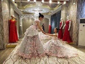 Image 5 - LS83920 Hồng Xám Hoa Bé Gái Cổ Tròn Tay Ngắn Phồng Áo Thi Áo Sukienka Komunijna