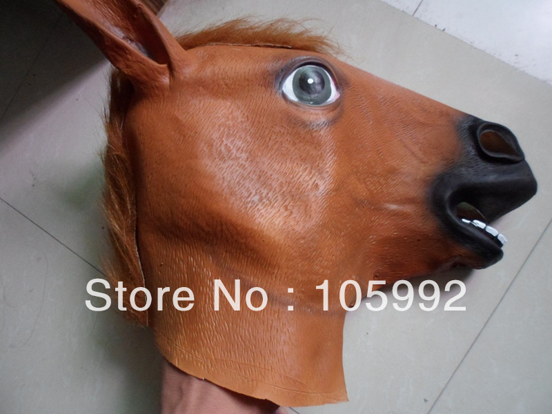 wholesale creepy horse mask head halloween costume theater prop novelty latex rubber 7pcslot - Halloween Novelties Wholesale