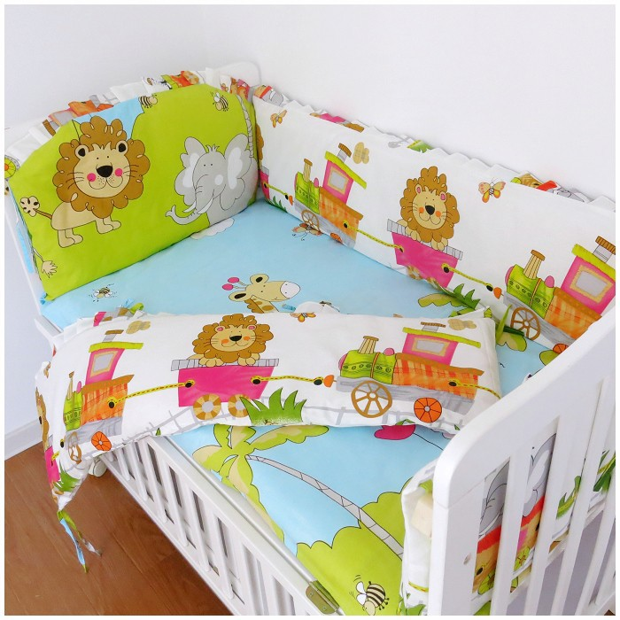 Promotion! 6PCS Lion Crib Baby Bedding Sets Bed Linen 100% Cotton,Baby Bed Crib Set Soft (bumpers+sheet+pillow cover)