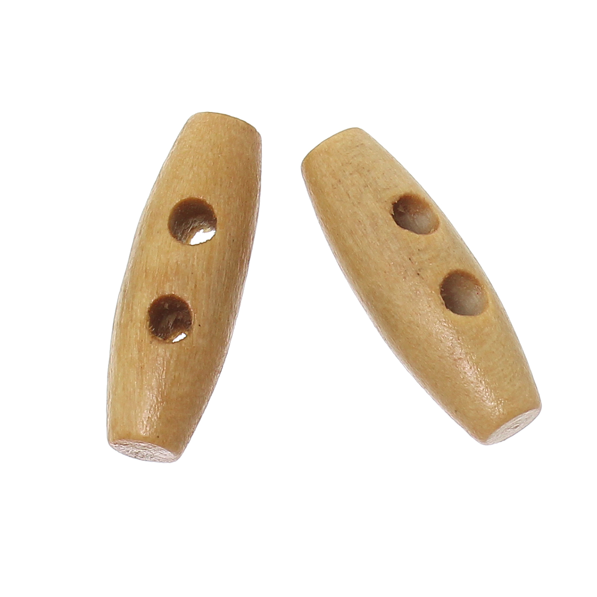 100PCs Brown wood buttons Sewing Horn Toggle Buttons For Coat Cloth Accessories Craft DI ...