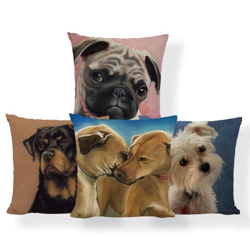 Pug Dog Golden Retriever Cushion Cover Boston Terrier Schnauzer Pillow Case Home Decoration Toss Pillow 18X18 Polyester Luxury