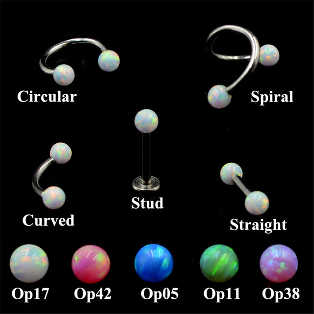 316L Surgical Steel Internally Thread Opal Ear Stud Tragus Cartilage Earring Labret Eyebrow Circular Barbell  Piercing Jewelry