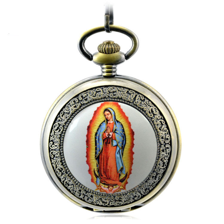 Blessed Virgin Mary Pocket & Fob Watches Antique Automatic Mechanical Hand Wind Pocket Watch Vintage Dress Clock Necklace Gift