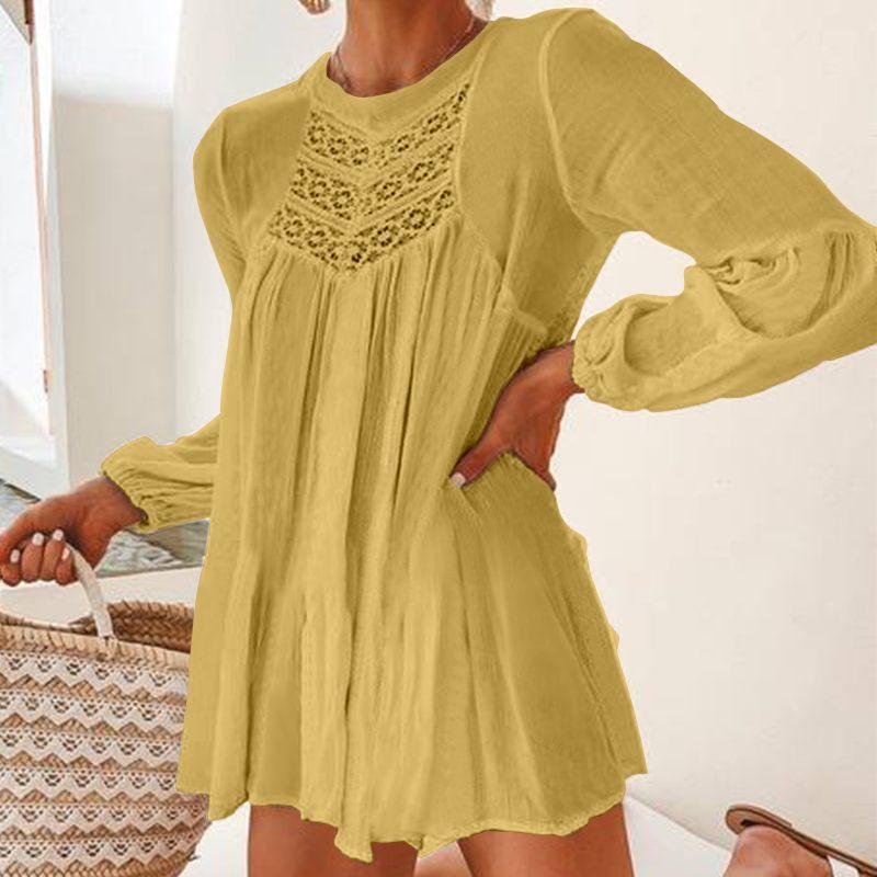 Celmia blusa feminina patchwork, túnica, renda, manga