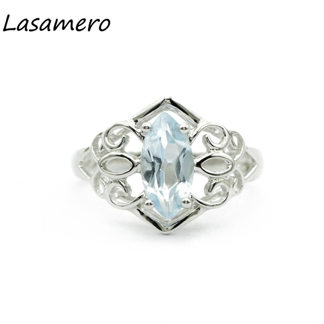 LASAMERO Rings for Women 1.15ct Round Cut Natural Topaz Rings 925 Silver Engagement Wedding Rings