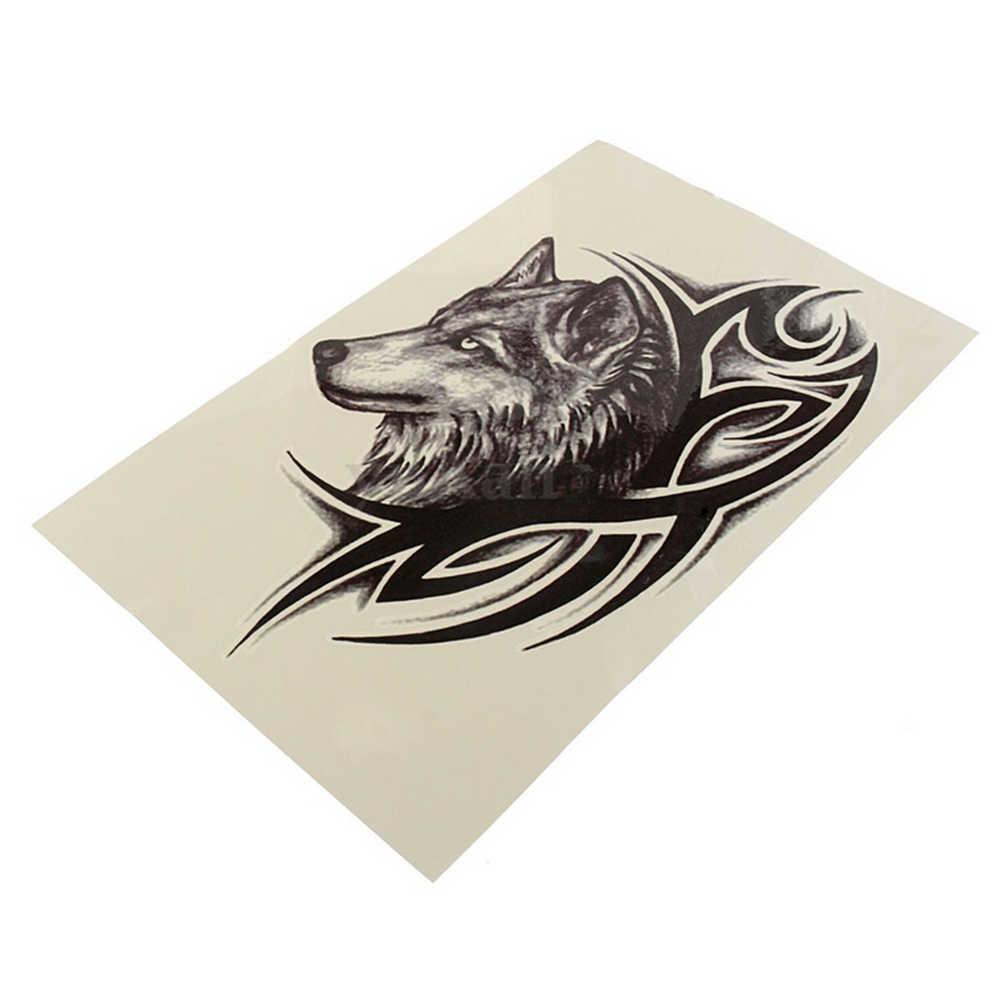 Tatuagem temporária do corpo da arte da tatuagem da tatuagem da cabeça do lobo preto quente tatuagens temporárias à prova dwaterproof água