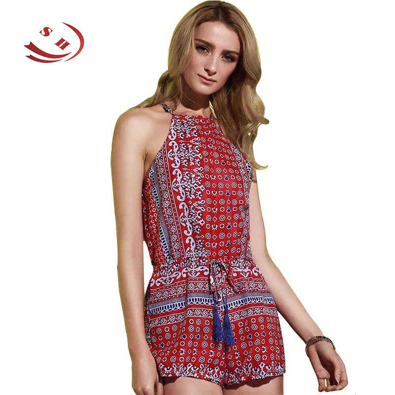 Letní dámské kombinézy 2018 Stylový sexy kulatý límec bez rukávů tištěné duté Romper pro ženy plážové oblečení