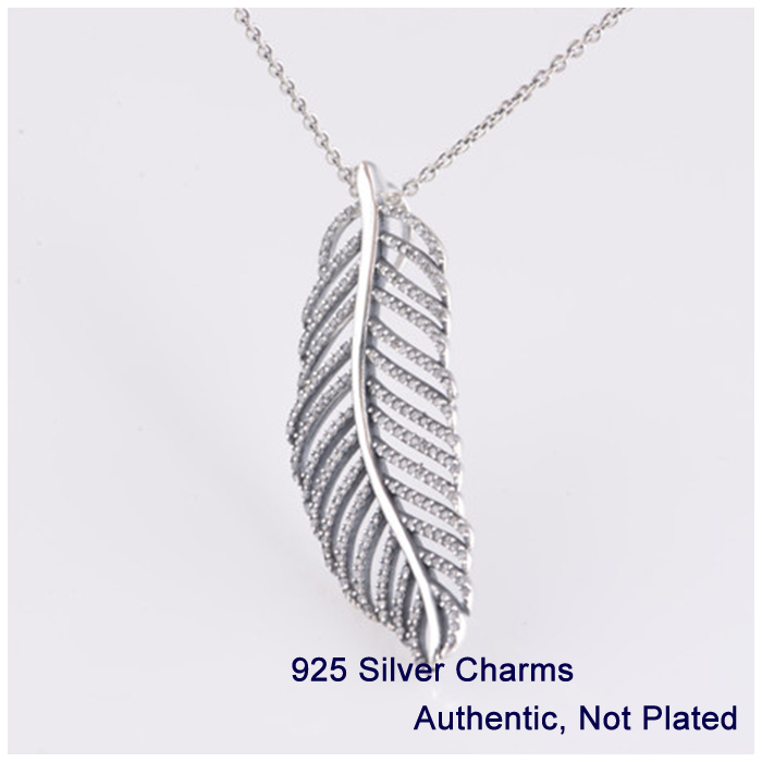 Light as a Feather Pendant Necklace with Clear Cubic Zirconia 925 Sterling Silver Jewelry Free Shipping