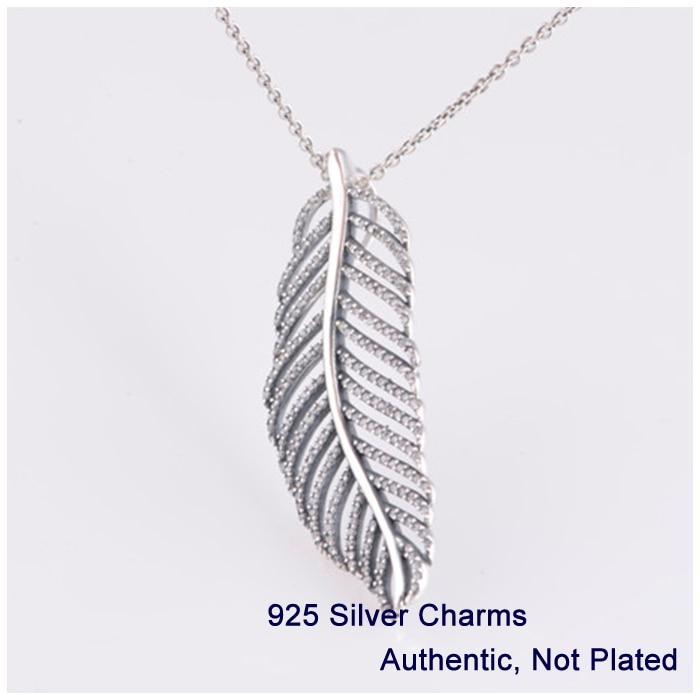 Lumière comme un collier pendentif plume avec zircon cubique clair 925 bijoux en argent Sterling livraison gratuite