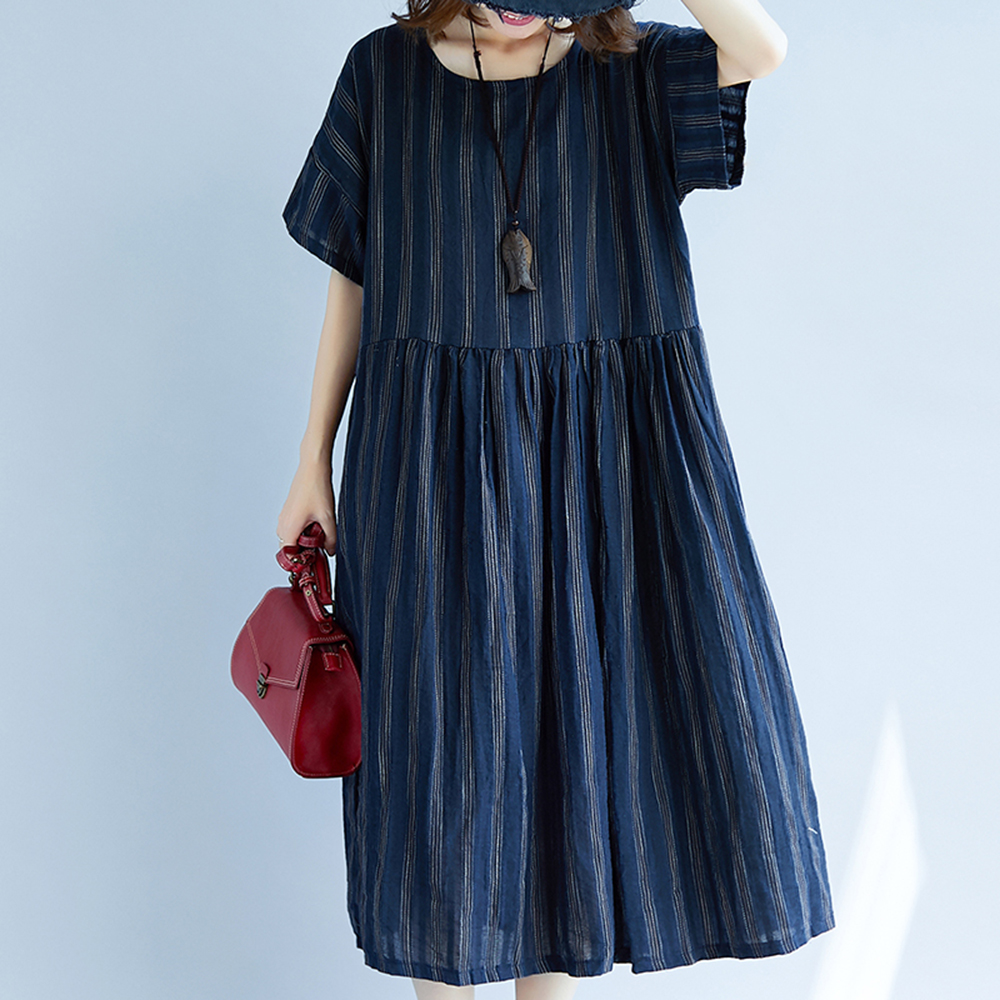 Summer Indie Folk Casual Plus Size Dresses Expansion Loose Stripe Simple A-line Girls Large Sizes Fashion Comfort Female Dress
