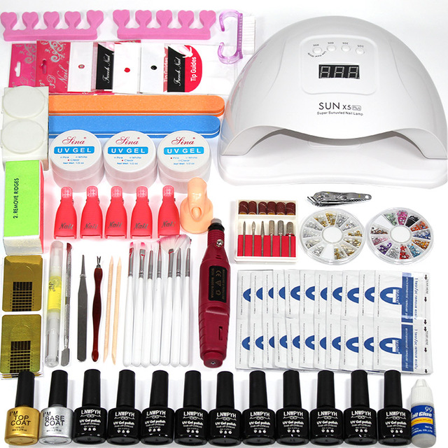 Nail kit 36/48/54/72w UV LED Light Dryer with Nail Gel Polishing Set ...