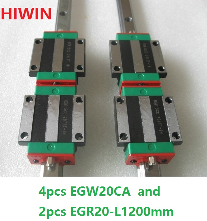 2pcs 100% original HIWIN linear rail guide EGR20 -L 1200mm + 4pcs EGW20CA linear flange block for CNC router