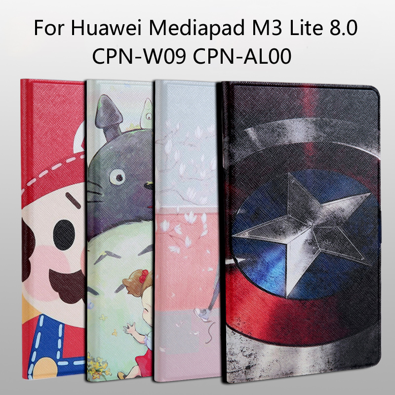 Fashion painted Pu leather stand holder Cover Case For Huawei Mediapad M3 Lite 8.0 CPN-W09 CPN-AL00 8.0 inch Tablet +Film+Stylus case for huawei mediapad m3 lite 8 case cover m3 lite 8 0 inch leather protective protector cpn l09 cpn w09 cpn al00 tablet case