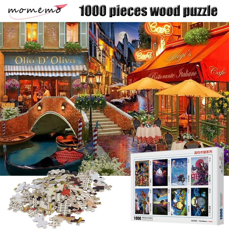 MOMEMO Streetscape Puzzle 1000 Pieces Adult Wooden 2mm Thick Landscape Figure Puzzles Children Toys Gifts