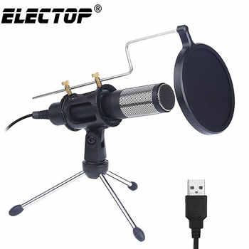 Microfone condensador profissional usb, microfone usb de estúdio com suporte para telefone, pc, skype, computador