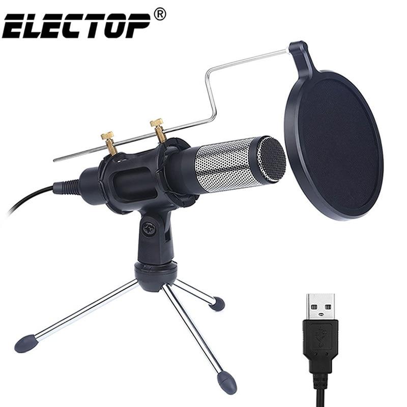 Atualização profissional microfone condensador para computador com suporte para telefone pc skype estúdio microfone usb microfone karaoke mic