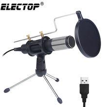 Micrófono condensador profesional mejorado para ordenador, con soporte para teléfono, PC, Skype, estudio, micrófono USB, Karaoke