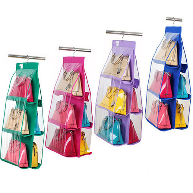 6 Grids Non Woven Hanging Storage Hangers Women Handbags Rack Las Bags Organizer Shoes Dustproof