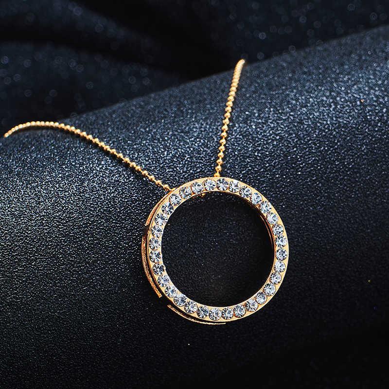 SHUANGR זהב צבע אוסטרי קריסטל קלאסי חלול עגול 48cm שרשרת תליון עגילי תכשיטי סט TH390