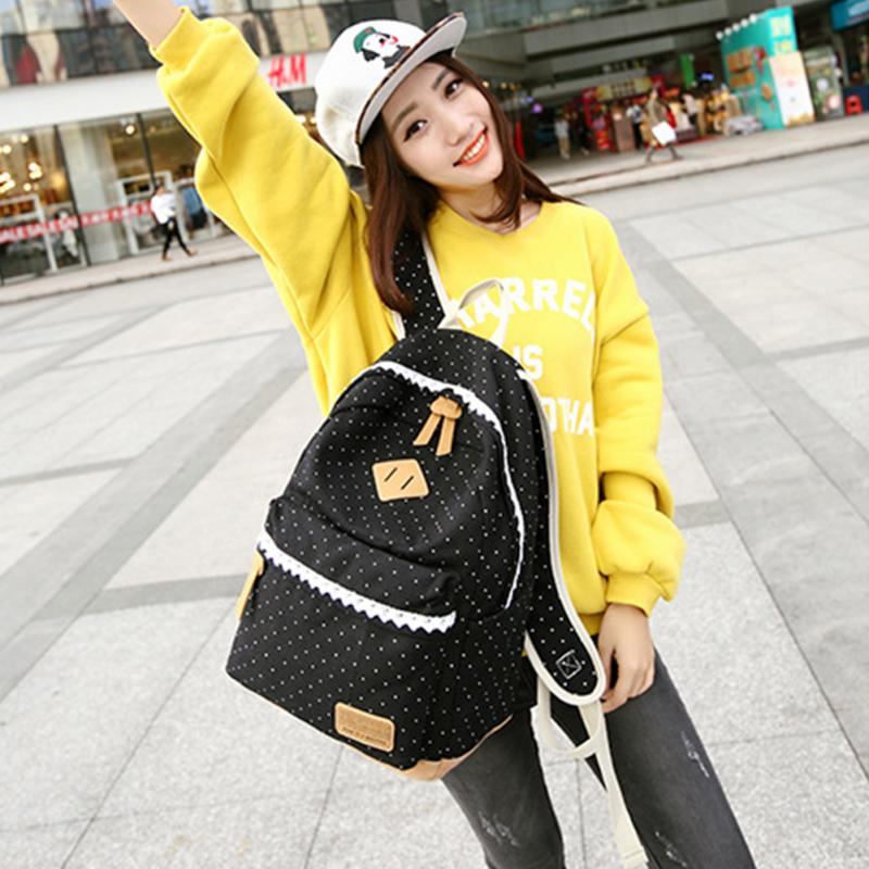 Preppy Style Canvas Girls School Bags Fancy Lace Backpacks For Women Use Large Capacity Backpacks For