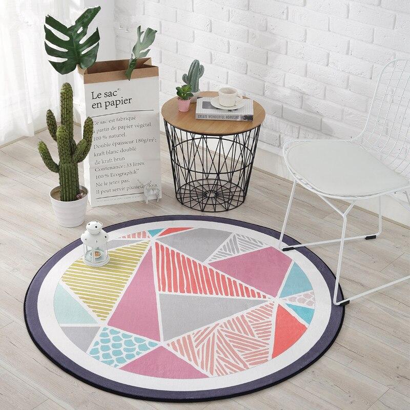 Motifs géométriques nordiques tapis ronds pour salon tapis enfant chambre ramper jeu tapis enfants chambre ordinateur chaise tapete tapis