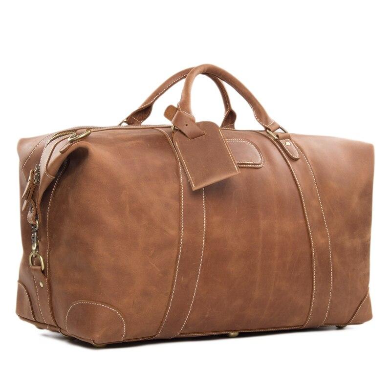 ROCKCOW Vintage Look Retrò Cuoio Genuino Uomini Borsa Da Viaggio Duffle Bag di grande Capienza Del Sacchetto DZ07