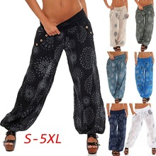 S-5XL floral print loose wide leg pant casual leisure autumn spring trousers pant street style full length trousers plus size