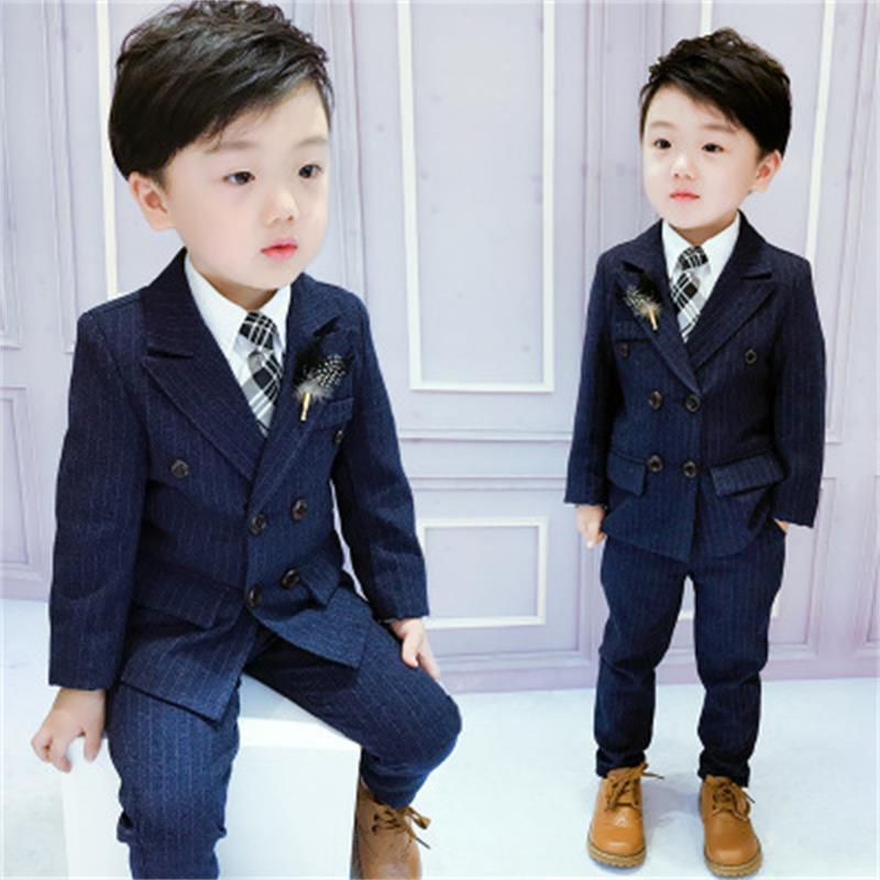 High quality Boys Suits 2018 Spring Autumn New Style Children Kids Wedding Clothes 2 Pieces Sets Blue Fashion Outfits spring outfits for kids