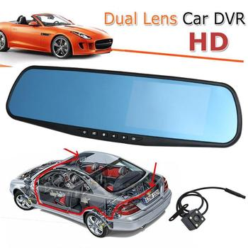 4.3 inch Car Camera Full HD 1080P Auto Parking DVR Car Rearview Dash Cam Dual Lens Wide Angle Car Mirror Video Recorder Dash Cam image