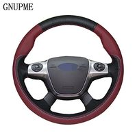 GNUPME DIY Customized Name Hand Stitched Black Genuine Leather Car Steering Wheel Cover for Ford Focus Kuga Mondeo Edge