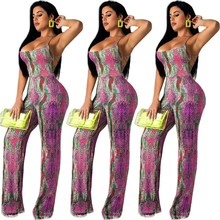 Sexy Spaghetti Strap Wide Leg Jumpsuit Women Back Cross Bandage Playsuit Snake Print Clubwear Overalls fashionable ethnic style print spaghetti strap jumpsuit for women