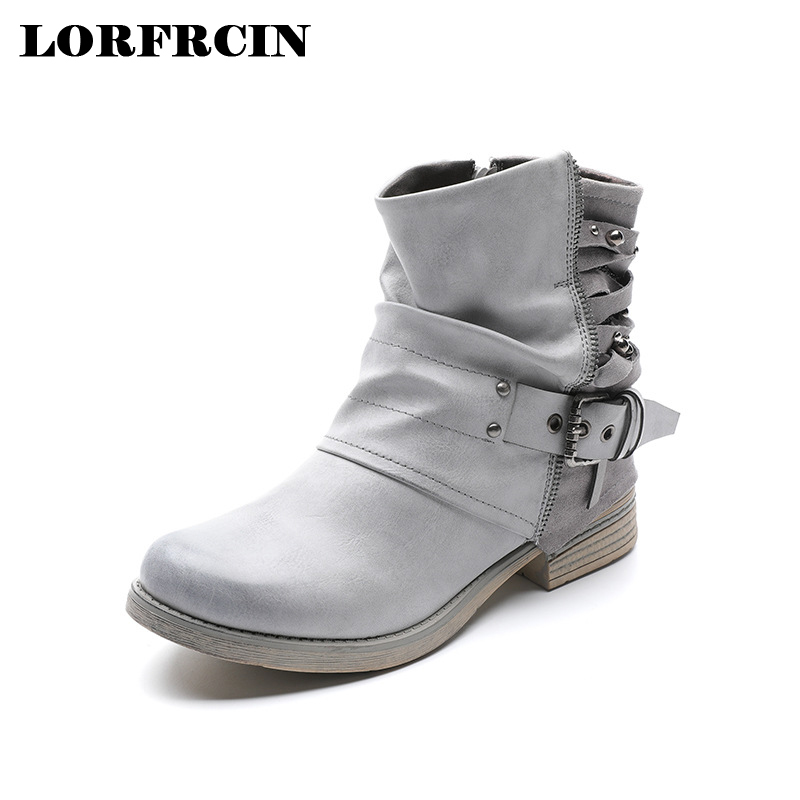 LORFRCIN Retro Casual Ankle Boots Genuine Leather Women Boots Metal Zipper Buckle Design Boot For Women Vintage Autumn Shoes casual women s satchel with weaving and buckle design