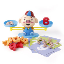 Children's Mathematics Enlightenment Piglet Early Education Balance Toy of Digital Addition and Subtraction Scale  Small Game flyingtown montessori teaching aids balance scale baby balance game early education wooden puzzle children toys