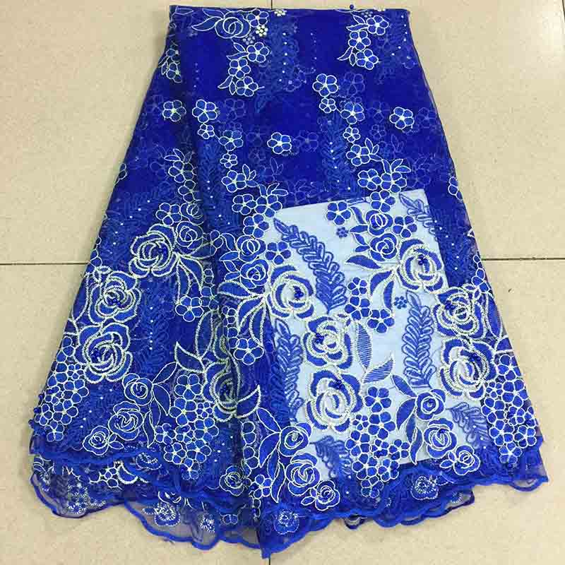 Best Selling Swiss voile lace African Lace Fabric Blue colour Nigerian French Net Fabric 2019 High Quality Nigeria Tulle Lace