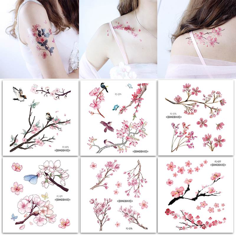 Fashion Handmade Sweet Pink Flower Tattoo Sticker Temporary Waterproof Women Girls Clavicle Arm Tattoo Body Art