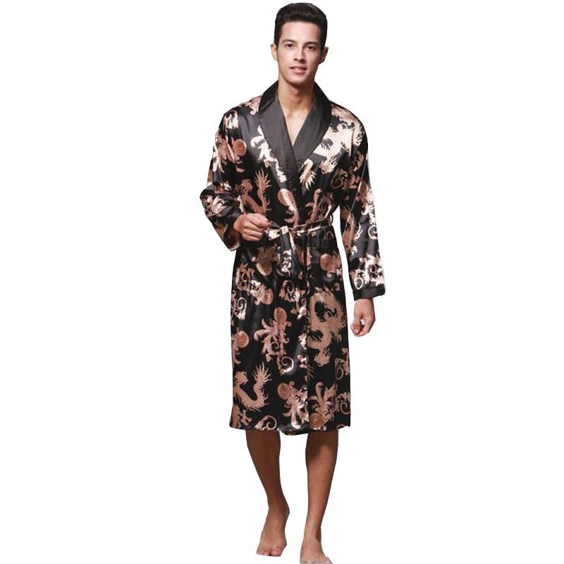 KWAN.Z Men's Bathrobe Spinning Silk Kimono Long Sleeves Robe Longo Pajamas Men's Gown Chinese Dragon Bathrobe Mens Albornoz