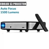 Coolux S3 DLP проектор 3D 1500 люмен автофокусом 4 K 1 2,5 м дома Театр Cortex A53 1500: 1 1280x800 умный проектор на Android