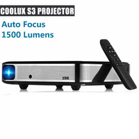 Coolux S3 DLP Projector 3D 1500 Lumens Auto Focus 4K 1 2.5m Home Theater Cortex A53 1500:1 1280 x 800 Smart Android Projector