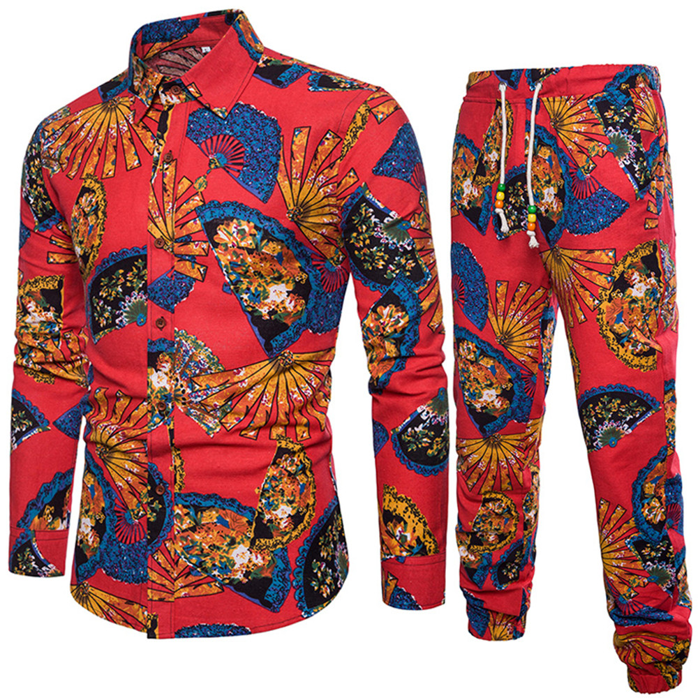 Confident Male Holiday Travel Tracksuits Europe Man Vacation Set Ethnic Style Printed Shirts Club Boy Long Sleeve Tops Long Pants Big Size Elegant And Graceful Men's Clothing