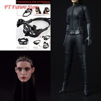 1/6 Scale Batman Catwoman Anne Hathaway Head Suit Clothing Set with Gloves Boots for 12'' Female Action Figure Body