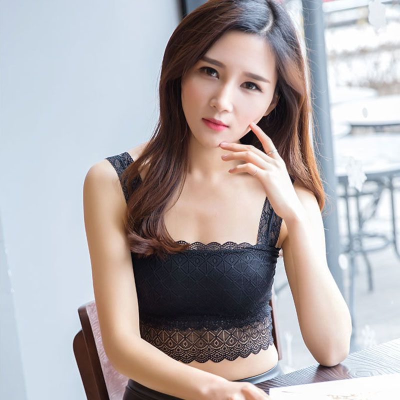 Sexy Women Lace Crochet Crop Top 2020 Floral Bralet Bustier Camisole Female Padded Tank Tops Black White Short Tops X2