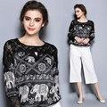 Buena calidad de encaje camisas de las mujeres de europa elegantes blusas de la gasa de gran tamaño de las tapas marca clothing ladies 2017 blusa floral sexy balck