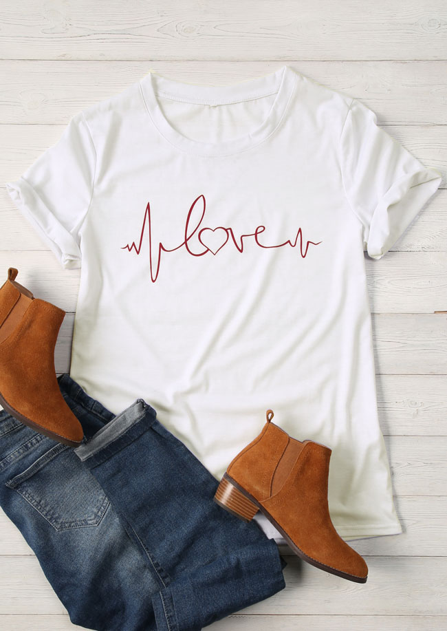 Love Heartbeat Short Sleeve T-Shirt pretty cotton 90s girl fashion tees women bride squad tribe simple style grunge tops t shirt
