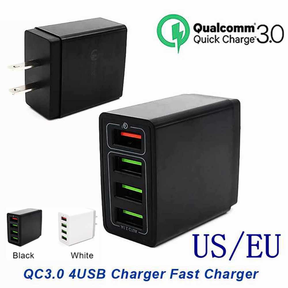 Universal <font><b>QC3.0</b></font> 4USB <font><b>Port</b></font> Fast Charger 5V/2.4A 12V/1.5A Laptop Power Adapter Tablet PC Notebook Computer Smart Mobile Charger image