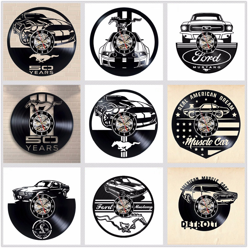 Ford Mustang Vinyl Record Wall Clock Modern Design Living Room Decoration Car Logo Hanging Clocks Wall Watch Home Decor Silent