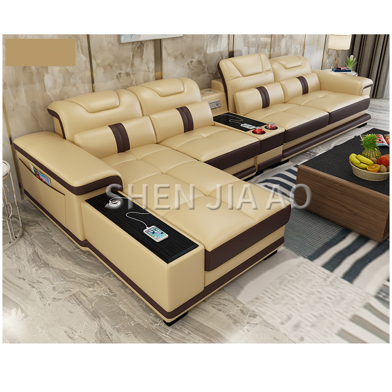 Multi-function Living Room Leather Sofa Simple Modern Smart Sofa Combination Large Size Leather Sofa 1PC