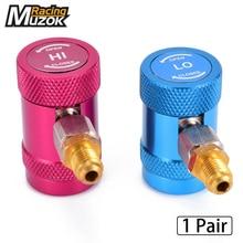 1 пара R1234yf адаптеры быстрого соединения регулируемые, 1/4 «мужской порт, AC зарядка фитинги, высокого и низкого давления